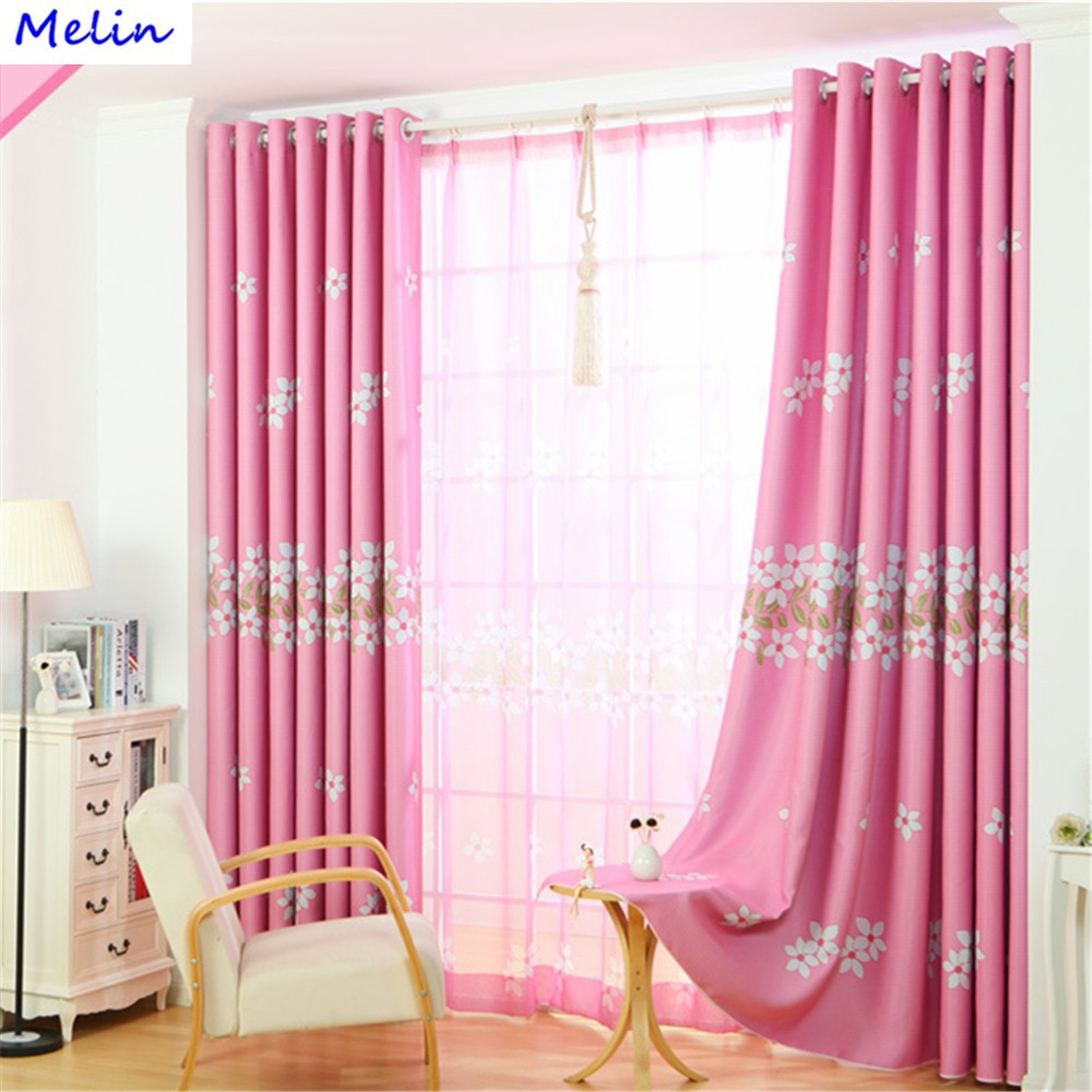 Pink Romantic Flower Blackout Curtain Window Sheer Curtain Living Room  Bedroom
