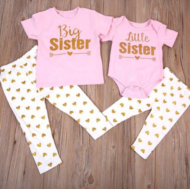 45f1c1c1d PO] Sisters romper & T-shirt set, Babies & Kids, Babies Apparel on ...