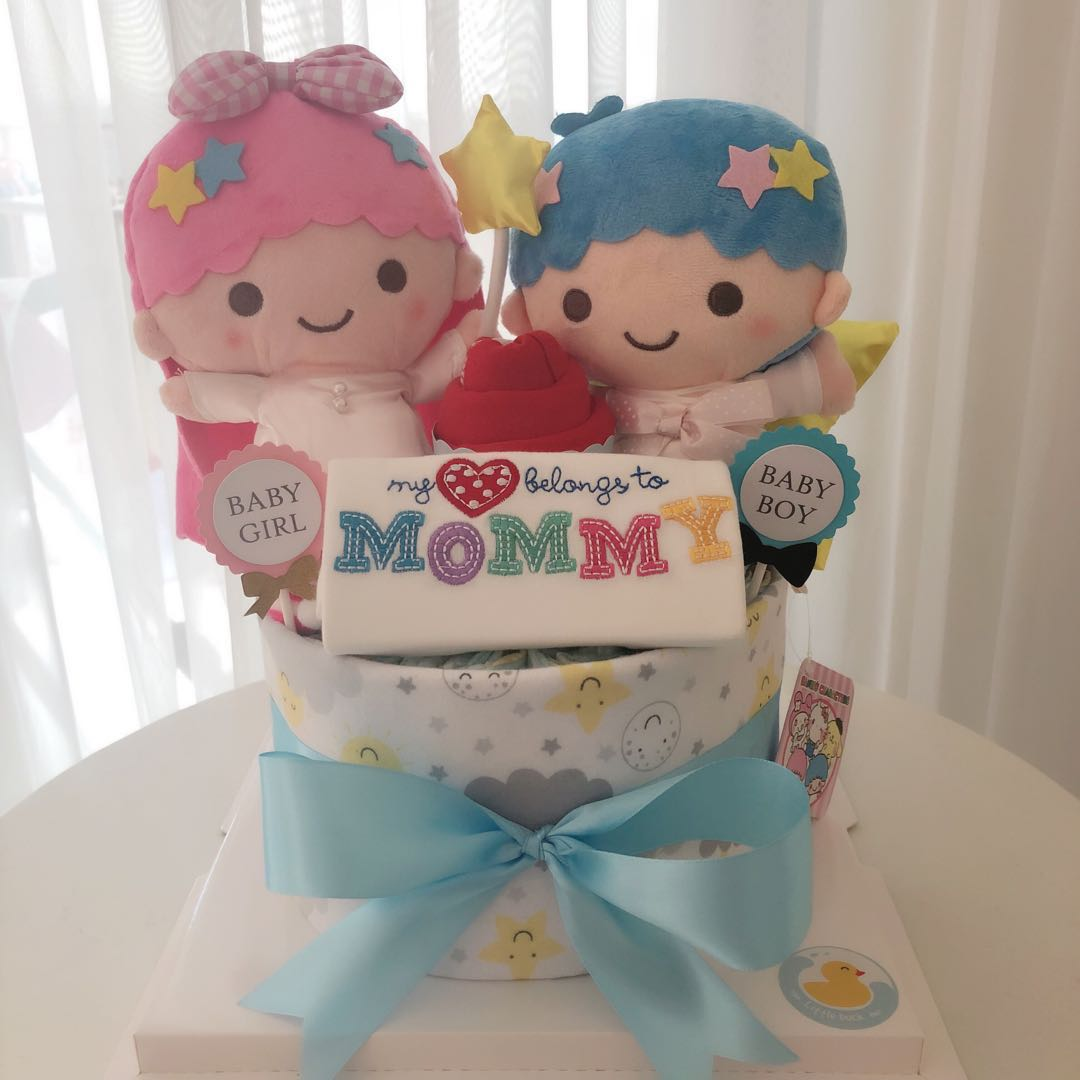 Twin Baby Diaper Cake 1 Tier For Twins Twin Boy Girl Baby