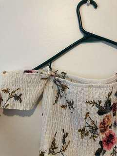 Off Shoulder White Floral Beach dress (Size: S)