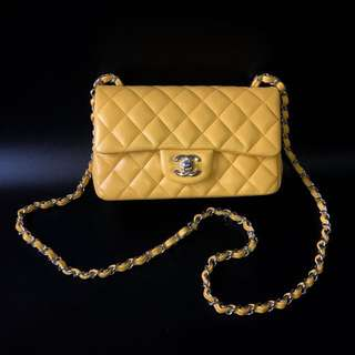 LIKE NEW & GOOD DEAL! Chanel Mini Rectangle Yellow Lambskin SHW #25 complete with card, holo, & dustbag.