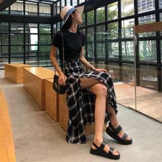 Summer Korea chic short-sleeved T split A line skirt fashion two-piece