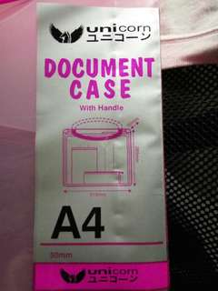 Buy 3 get 1 FREE A4 Plastic Document Holder Case with Handle Pink