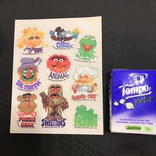 (包平郵)Miss Piggy Kermit the Frog Animal stickers 芝麻街貼紙