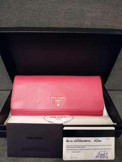 100% Real Prada 桃紅色長銀包