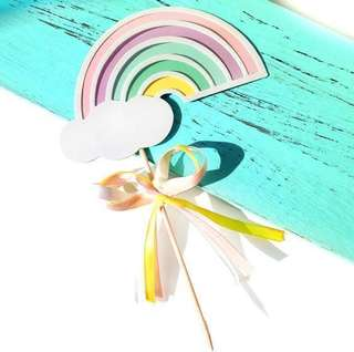 Pastel Rainbow Birthday Cake Cupcake Toppers Topper Decoration Boy Happy Party Bunting