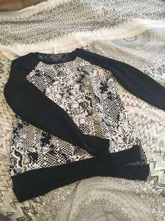 Long sleeve black and white shirt