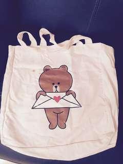 Line Friends cute Brown Tote Bag 帆布袋