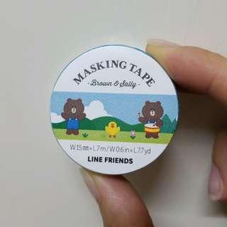 全新 LINE FRIENDS 熊大 莎莉 Brown & Sally 膠紙 MT Masking Tape