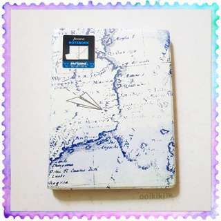 Filofax A5 Notebook Retro Map Pattern Ruled Pages with Ring Adjustable Reposition