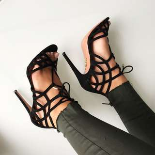Aquazzura Black Ginger 105 Lace Up Suede Sandals size 36 / 6