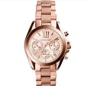 Sale!!Authentic-Michael Kors#Legit#Pawnable#LowestPrice#complete Inclusion#hardbox#manual#paperbag#tag Rosegold tone stainless steel case and bracelet.Fixed rose gold-tone bezel.Rose dial with rose gold-tone hands and alternating Roman numeral