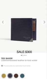 英國直送🇬🇧TED BAKER Lizard-embossed leather bi-fold wallet