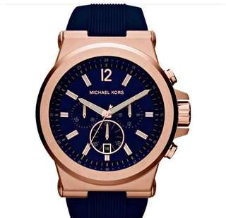 Sale!!Authentic-Michael Kors Pawnable Legit Lowest Price Direct Supplier Comple Inclusion:hardbox manual paper bag Stainless steel case with a navy silicone