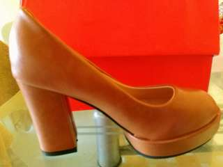 Brown Thick Stiletto Women Heel Shoes