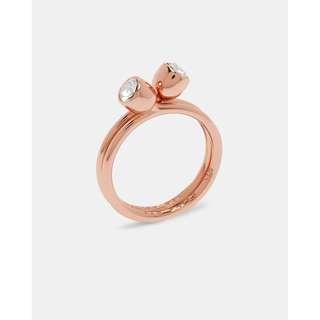🚚 限時特價[現貨僅此一個] 英國代購 英國TED BAKER 施華洛世奇水晶雙環疊層戒指 玫瑰金