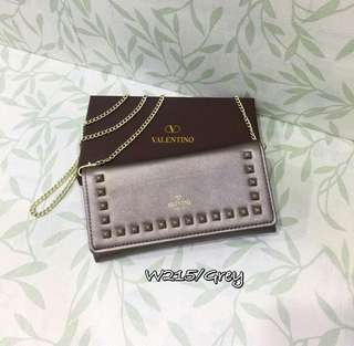 Valentino Wallet On Chain Grey Color