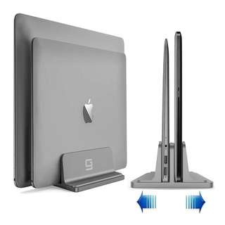 [IN-STOCK] Vertical Laptop Stand, Double Desktop Stand Holder with Adjustable Dock, Fits All MacBook HP Dell Acer Lenovo Microsoft Samsung Sony ASUS Chromebook (Up to 20.3 inch) Updated Dual 2 Slots (Gray)