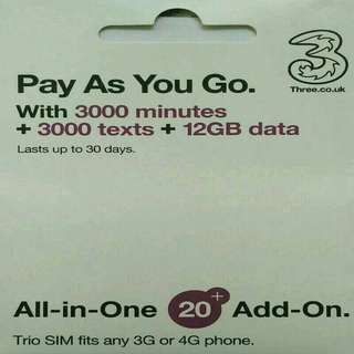 歐洲 數據卡 30天 4G/3G 12GB 數據 上網卡 + 3000分鐘英國通話 SIM CARD