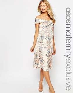 BN ASOS Maternity Twist off Shoulder Skater Midi Dress in Vintage Floral UK6