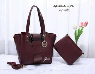 Guess Handbag 2 in 1 Wine Color