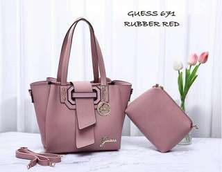 Guess Handbag Rubber Red Color