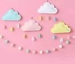 🚚 B007 felt three-dimensional cloud raindrops children room wall decoration pendant hanging ornaments