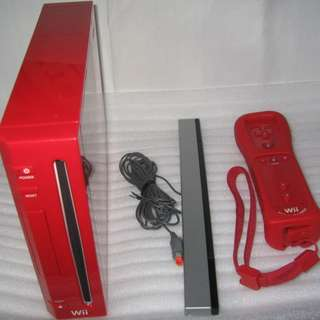 Red Console unit, Wii Motion Plus Controller and Sensor Bar (3 items)
