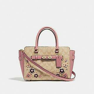 BLAKE CARRYALL 25 IN SIGNATURE CANVAS WITH FLORAL APPLIQUE. Style 31194