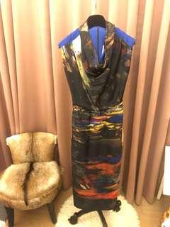 TedBaker幾何現代染畫風印花洋裝全新含吊牌