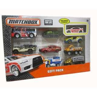 Matchbox 9 pcs diecast cars pack - Mitsubishi Lancer Evo Police,CityBus, Green Attack Track, Malibu