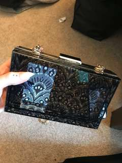 Nine West Clear Black Clutch