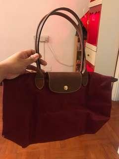 全新 Longchamp 長柄 中size 酒紅色