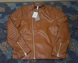 Zara Man biker jacket brown faux leather BNWT original