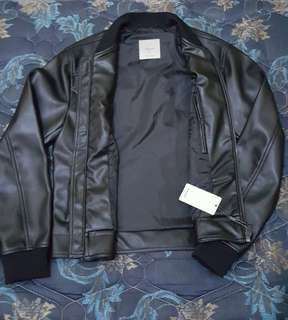 Mango Man biker jacket black faux leather BNWT original