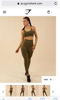 GYMSHARK HIGH ENERGY SEAMLESS LEGGING KHAKI SIZE SMALL