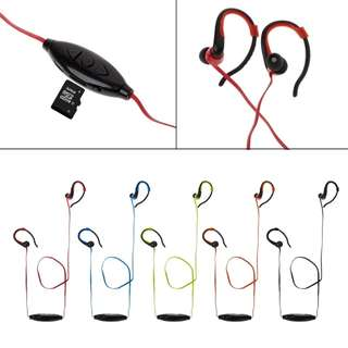 Ear hook sports earphone FM radio with micro SD card slot