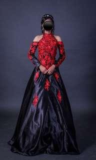 Black & Red Off-Shoulder Gown
