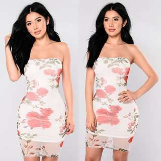 FASHION NOVA Strapless Floral Dress