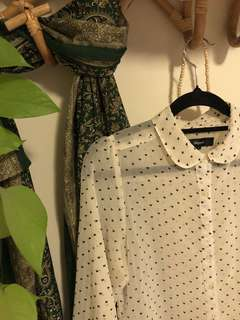 Sheer blouse with tiny hearts