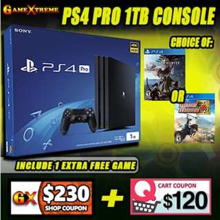 ★SONY PS4 1 TB Pro Console w 1 x Controllers w 2 x PS4 Games★Local 15 Mths Warranty★