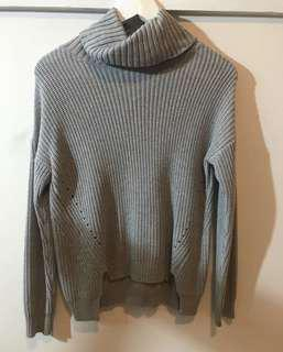 Grey high neck knitted jumper