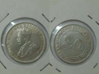 💥💥 Straits King George V 1927 20cent silver. AEF