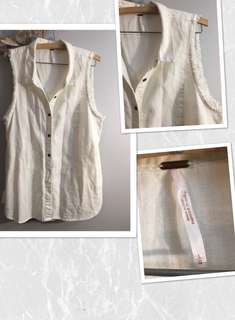 Free People Button Down Cut Off Vest - L