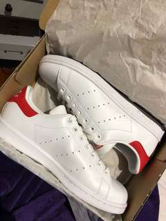 White/Red Adidas Stan Smiths