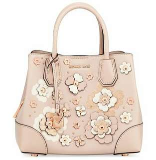 Michael Kors Mercer Gallery Leather Satchel in Soft Pink