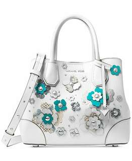 Michael Kors MERCER GALLERY SMALL FLORAL EMBELLISHED SATCHEL