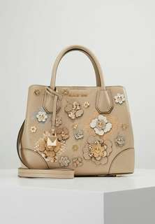 Michael Kors Mercer Gallery Leather Satchel in Oat Multi