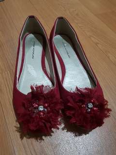 Ballerina flat shoes. MERAH. 38