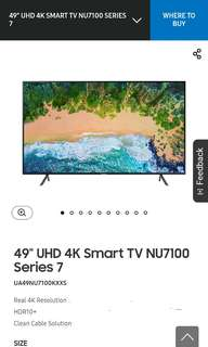 "Samsung UHD Class 7 NU7100 49"" TV"
